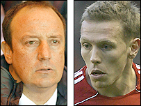 Liverpool boss Rafael Benitez (left) and striker Craig Bellamy