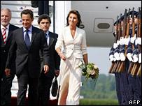 Cecilia Sarkozy (right) and her husband, President Nicolas Sarkozy