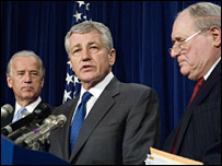 Senators Biden (left), Hagel and Levin (right) announce their resolution