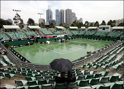 Rain comes to Melbourne Park