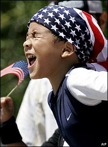 Boy cheers at independence day celebrations in Miami