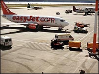 Easyjet plane at Liverpool's John Lennon Airport