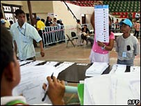 Workers count ballot papers in Dili