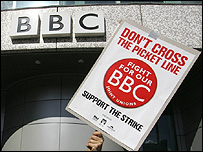 Picket line at BBC Television Centre