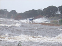 Mudeford in Dorset during storms - picture by Barrie Taylor