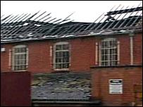 Factory fire scene