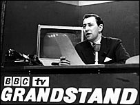 David Coleman on the set of Grandstand