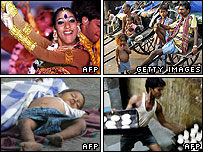 (Clockwise): A Bollywood star, rickshaw drivers, a baker, child sleeping rough