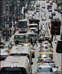Traffic on 42nd St, New York. File pic
