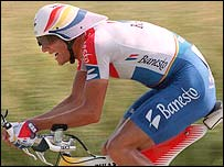 Miguel Indurain during a Tour time trial