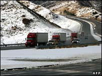Lorries on closed highway in California