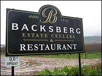 Backsberg wine estate sign, Western Cape, South Africa
