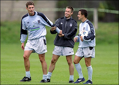 Chris Sutton (left) at an England training camp with Graeme Le Saux (centre) and Dennis Wise in October 1999