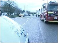 Scene of blast in Blacklands Way