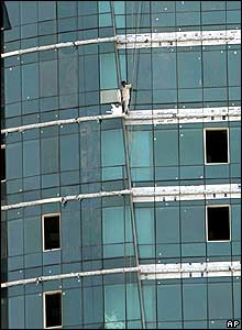 A worker is trapped in a building after it caught fire in Dubai