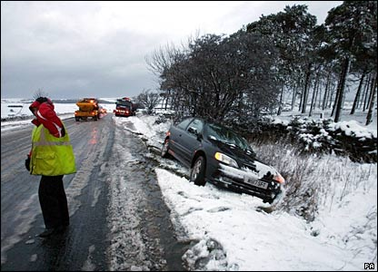 Car crashed off road in snow at Tow Law, County Durham