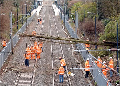 Workmen clear a tree off train lines at Sutton Coldfield