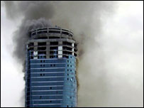 Building on fire in Dubai