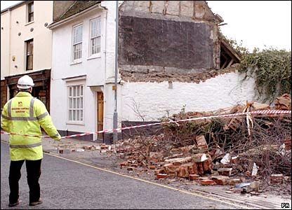 House damaged by winds in King's Lynn, Norfolk