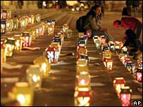 Candles in central Bogota as part of protests against kidnapping
