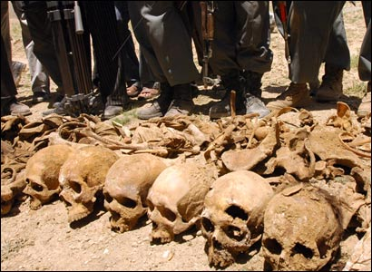 Afghan officials pose near a row of skulls