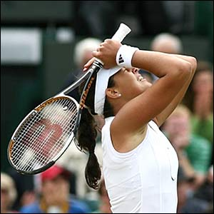 Ana Ivanovic celebrates beating Nicole Vaidisova in the quarter-finals at Wimbledon
