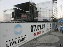 Set up for Live Earth concert in Rio de Janeiro