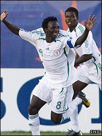 Nigerian striker Ezekiel Bala celebrates his opening goal