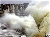 Huge waves pound the port of Wimereux, northern France