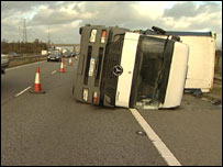 Lorries were blown over on roads and motorways