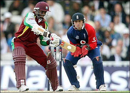 Shivnarine Chanderpaul hits out in the first Twenty20 game at The Oval