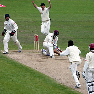 Shivnarine Chanderpaul is bowled by Monty Panesar for 70