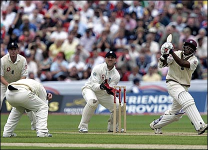 Shivnarine Chanderpaul hits a six against England