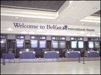The aircraft landed at Belfast International Airport