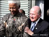 Nelson Mandela with Fifa president Sepp Blatter
