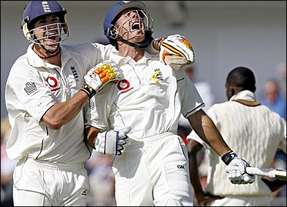 Kevin Pietersen (left) scores 226 and Michael Vaughan 103 as England beat West Indies by an innings and 283 runs at Headingley