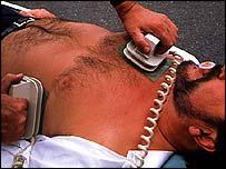 Man treated with defibrillator