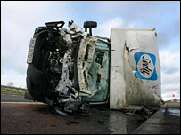 A lorry on its side after storm