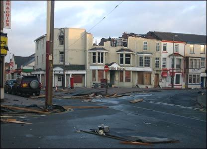 Blackpool town centre damaged by storms