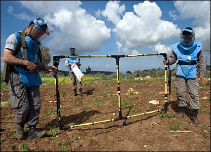 Deminers using a metal detector