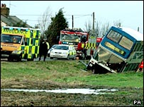 Emergency services dealing with a bus which left the road in high winds in Cambridgeshire