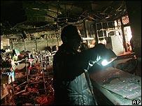 Burnt shop in Ramallah