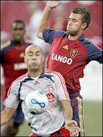 Danny Dichio (left) in action against Real Salt Lake's Jack Stewart