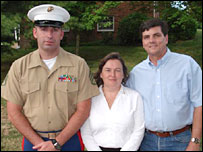 (l-r) Marine First Staff Sgt Chad Bilyeu with Tammy and Steven Delle