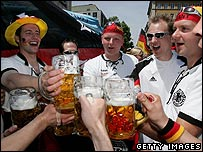 German fans celebrate with beer
