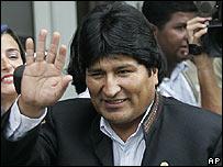Evo Morales, presidente de Bolivia, a su llegada a Río de Janeiro para la cumbre de Mercosur.