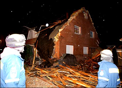 Damaged house in Barsinghausen, Germany