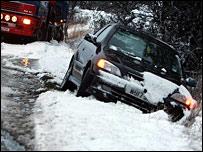 Car trapped in ditch near Durham