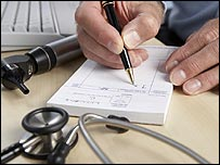 GP writing a prescription (Photo: Science Photo Library)