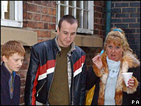 Wendi Peters as Cilla Battersby-Brown (r) with co-stars Chesney (Sam Aston) and Kirk (Andy Whyment)